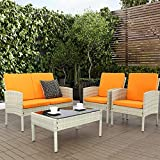 Haplife 4-Pieces Rattan Patio Furniture Set Outdoor Conversation Set Sectional Garden Lawn Sofa All Weather Wicker Chair Loveseat with Cushions Tempered Class Tabletop