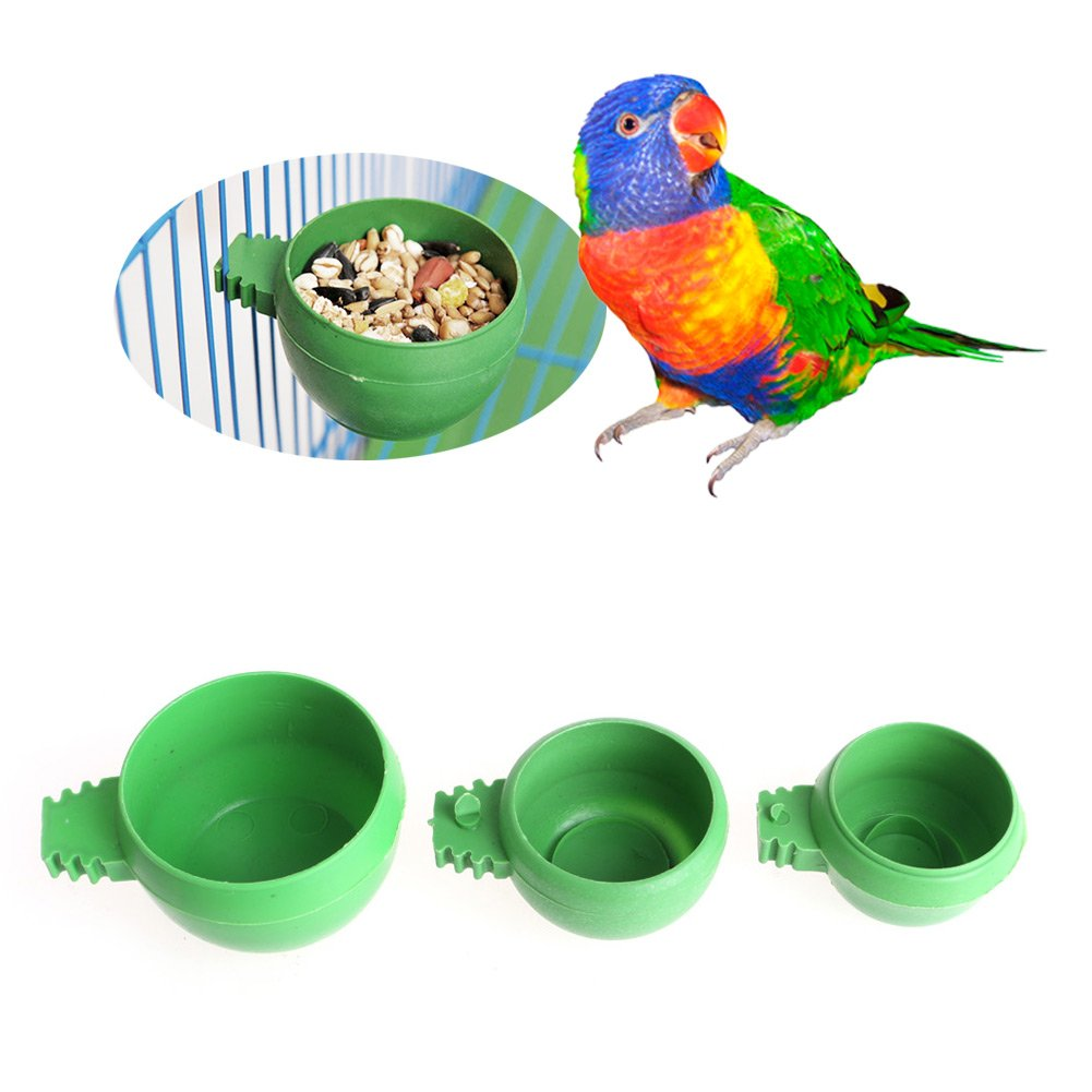 GMSP Mini Parrot Food Water Bowl Feeder Plastic Pigeons Birds Cage Sand Cup Feeding. (S)
