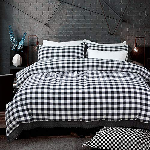 Softta Vintage Ruffle Buffalo Plaid Bedding Set 3 pcs 100% Pure Natural Yarn Dyed Washed Cotton 1 Duvet Cover + 2 Pillowcases Check Pattern White and Black Grey Queen Size (Check Gingham Sheets)