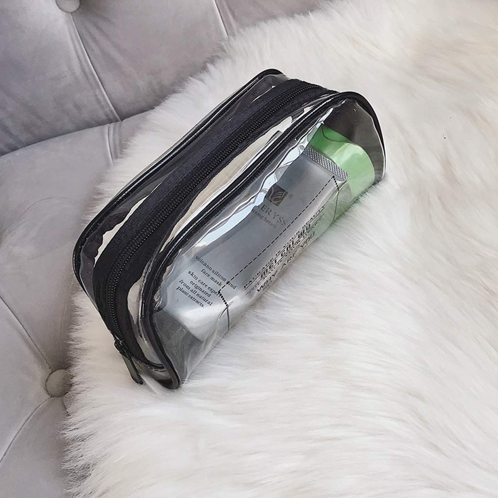 Conjunto de 3 Mallas Estuche Transparente de Maquillaje Conjunto de 3 Bolsa Pr/áctica para Guardar Utensilios Cosm/éticos Make-up Pounches PVC Grueso Suave