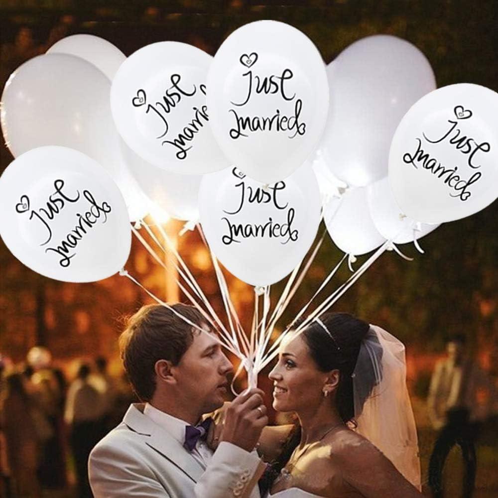 para boda color blanco decoraci/ón Snowzan Globos de boda l/átex dise/ño con texto Just Married fiesta
