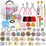 PP OPOUNT Deluxe Jewelry Making Supplies Kit with Instructions, Jewelry Beads, Charms, Findings, Jewelry Pliers, Beading Wire for Necklace Bracelet, Earrings Making and Repairing