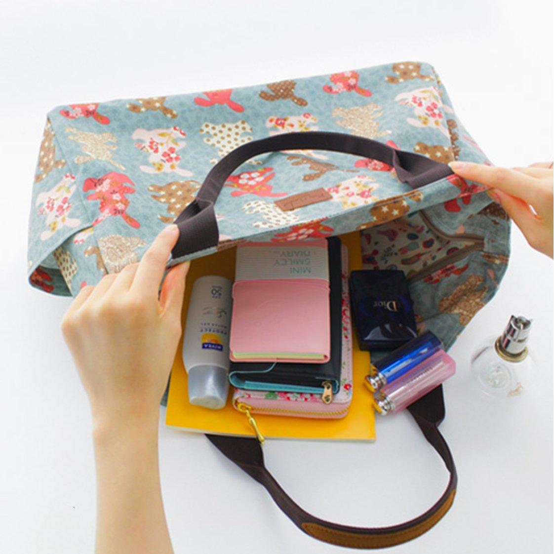 Bany Bany - Pink Rose Garden Womens Day-Bag Flower Illustration Pattern Duffel Boston Travel Bag Series