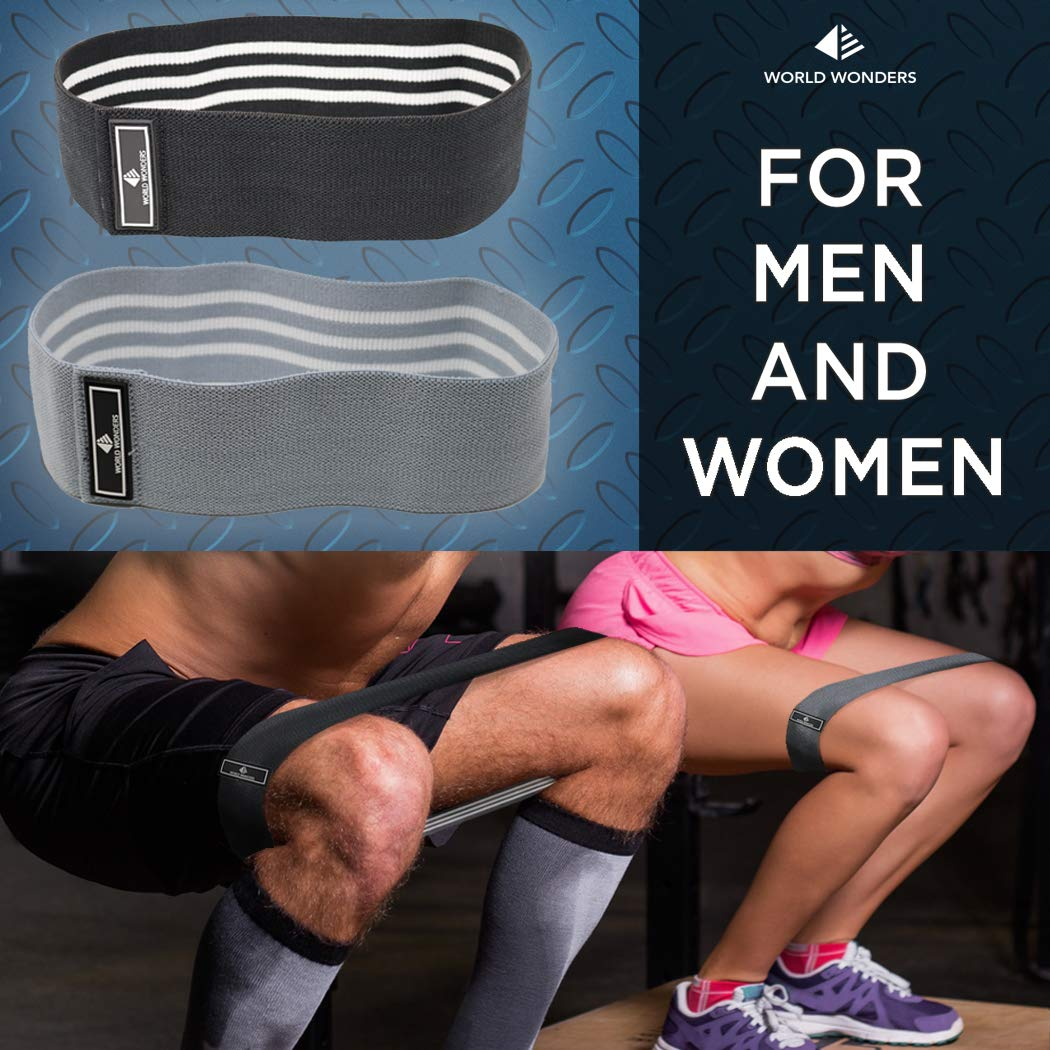 Set of 2 w//Carry Bag World Wonders Co Hip Resistance Bands by World Wonders Stretching and Warmups Workouts for Abductors Legs and Booty Exercises 80 Day Obsession Loop Bands for Mobility