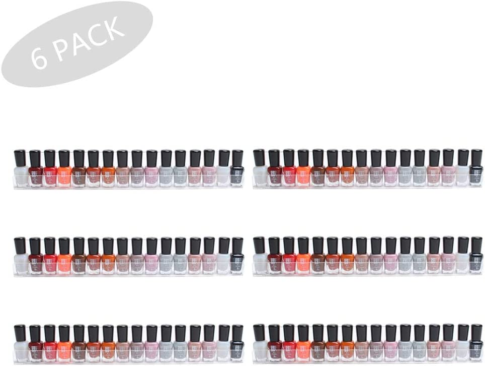 AJO Set of 6 Wall Mounted Clear Acrylic Nail Polish Floating Shelving Rack,Essential Oil Display Organizer,Salon Hanging Wall Display Storage Rack. Wall Mount Ledges Mounted Organizer Makeup Shelves.