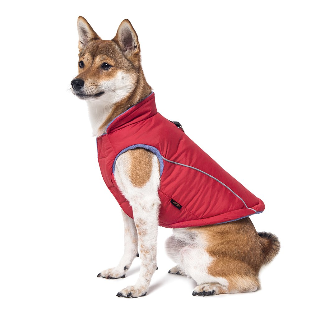 Gooby Cold Weather Fleece Lined Sports Dog Vest with Reflective Lining, Large, Red