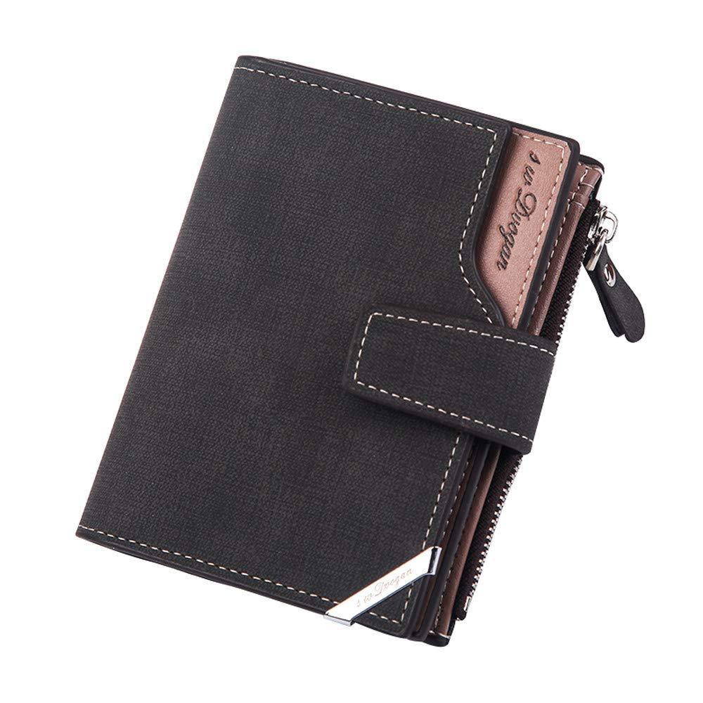 Men Business Wallet, Mens Wallet Solid Wallet Cross Wallet Card Wallet Valentine's Day Gift for Boyfriend YOcheerful