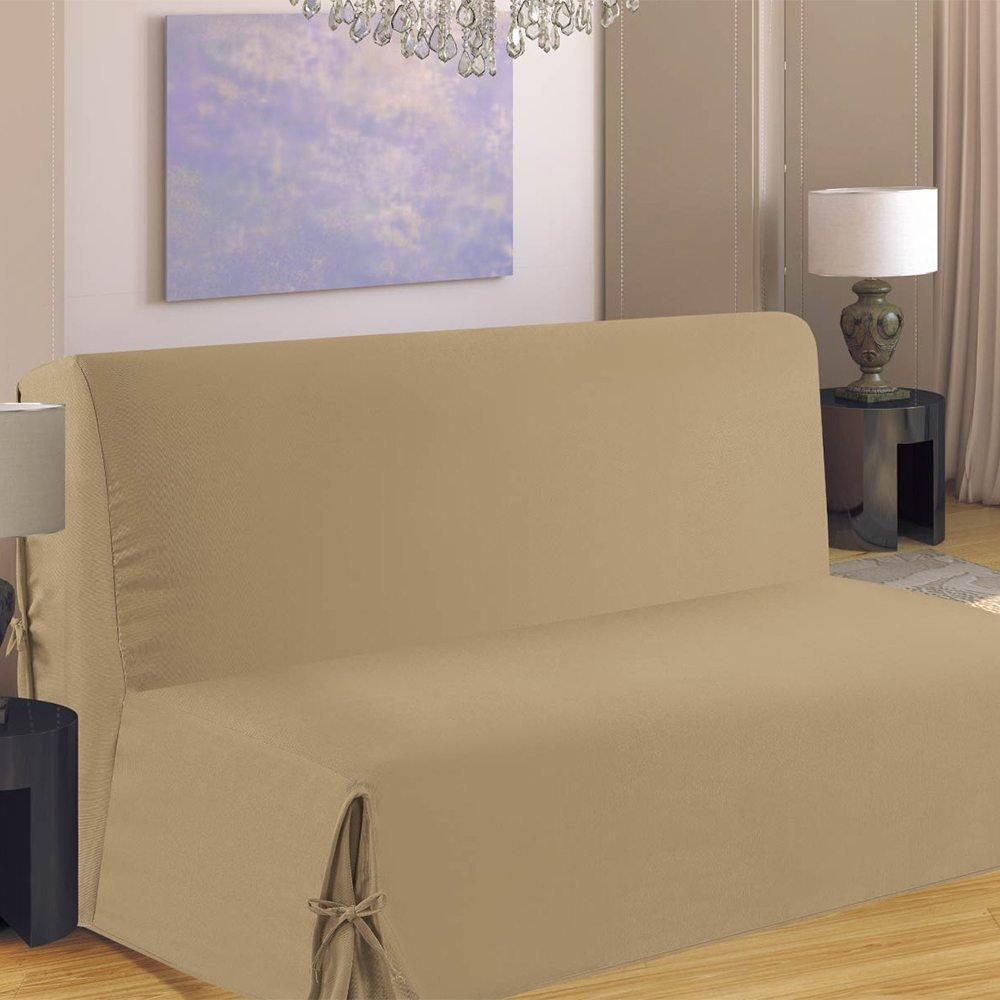 Homemaison HM69F516-80 Housse de Canap/é pour BZ Polyester Taupe 190 x 140 cm