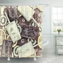 Emvency Shower Curtain 66x72 Colorful Above Frozen Juice Fruit Ice Cream Domestic Sherbet Green Bar Berry Beverage Cocktail Cold Water Soap Mildew Resistant Machine Washable Hooks Included