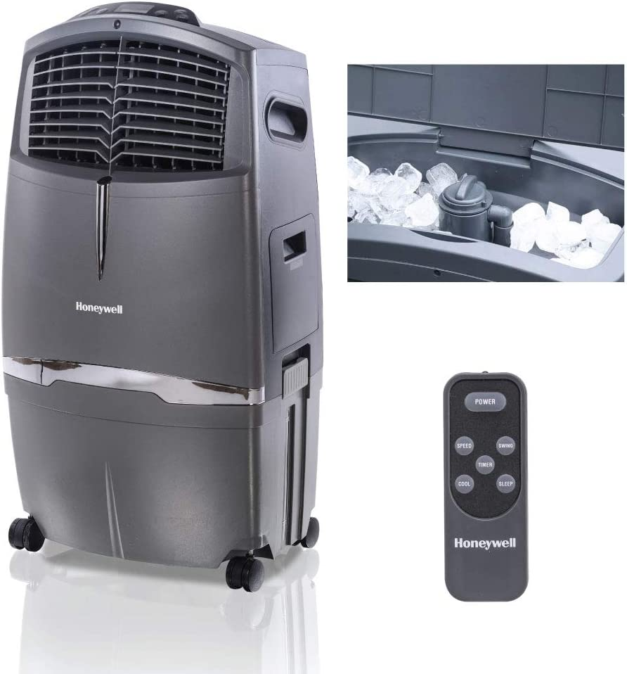 Amazon.com: Honeywell 525-790CFM, Fan & Humidifier with Ice Compartment &  Remote, CL30XC, Gray Indoor Portable Evaporative Cooler, 525 CFM: Home &  Kitchen