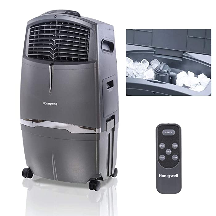 Honeywell 525 CFM Indoor Portable Evaporative Cooler with Fan & Humidifier, Carbon Dust Filter & Remote Control, CL30XC