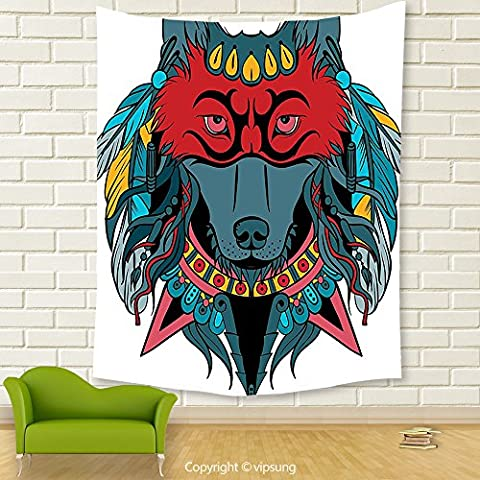 Vipsung House Decor Tapestry_Tribal Indian Warrior Wolf Portrait With Mask Feathers Native American Animal Art Teal White And Red_Wall Hanging For Bedroom Living Room - Native American Art Masks