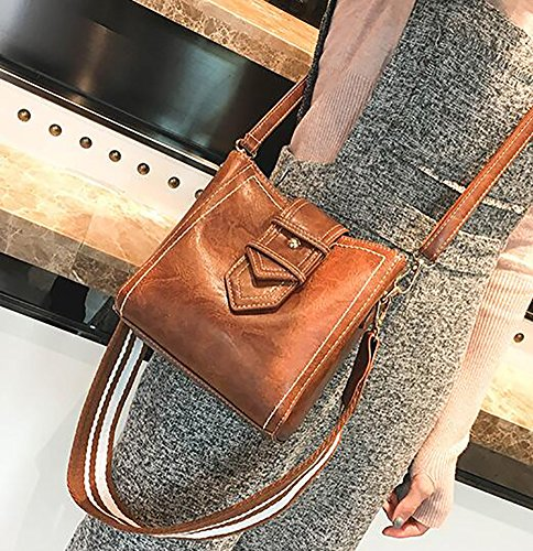 handle Shoulder Strap Bags Girls For Bags Bucket Wild Shoulder Brown Wide Bag Top Crossbody Bags Ladies 0wUxRYqnzW