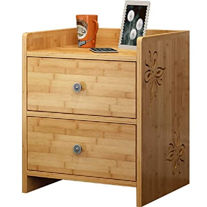 Amazon.com: Bedside table XIAODONG Bamboo with 2 Drawers Bedroom ...