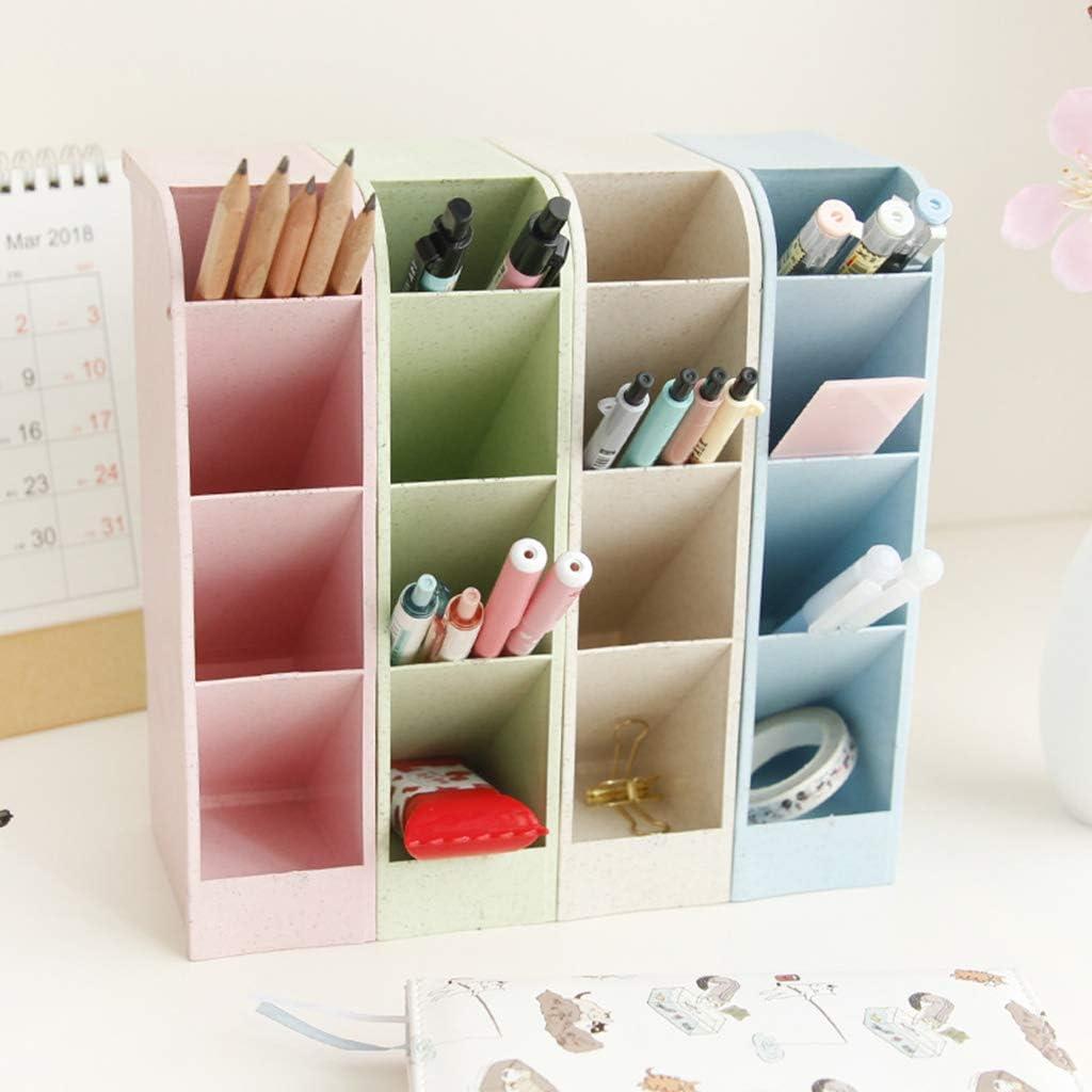 Multifunzione 4 Grid Desktop Pen Holder Office School Storage Case Box Wheat Straw Desk Pencil Organizer Stationery m beige.