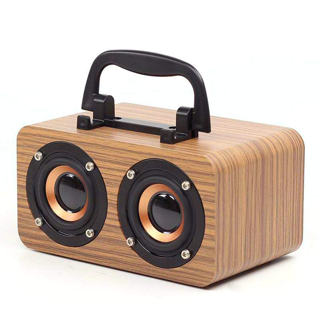bommon Outdoor Style rétro Portable Double Haut-Parleur sans Fil Bluetooth Haut-Parleur Portable en Bois adapté pour Le Camping Pique-Nique de Plage
