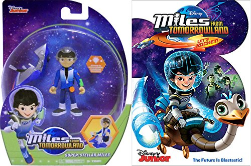 Disney Superstellar Miles from Tomorrowland Cartoon Let's Rock DVD & Miles Figure