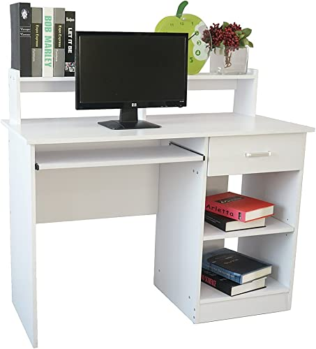 Lykos General Style Modern E1 15MM Chipboard Computer Desk Clear Home Office White