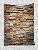 asddcdfdd Marble Tapestry, Urban Brick Slate Stone Wall with Rocks Featured Facade Architecture Town Picture, Wall Hanging for Bedroom Living Room Dorm, 60 W X 80 L Inches, Multicolor