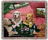 Golden Retrievers Playing Poker Woven Throw Blanket 54 x 38