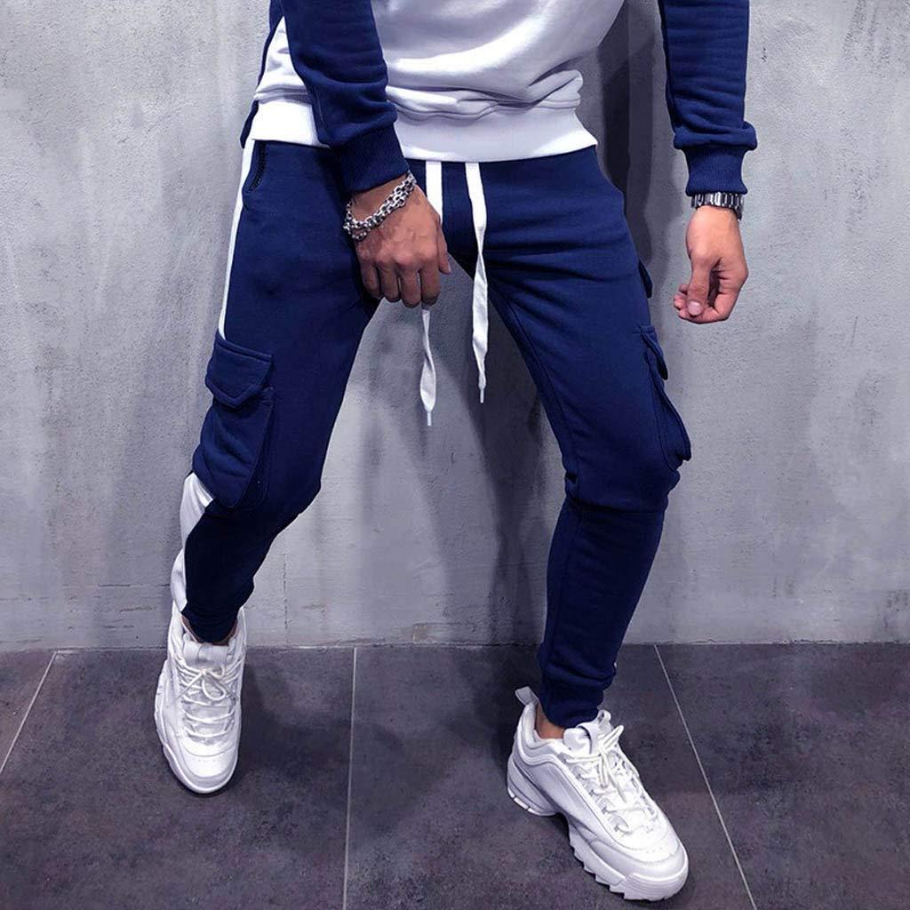 VICCKI Men Splicing Overalls Casual Pocket Sport Work Casual Trouser Pants