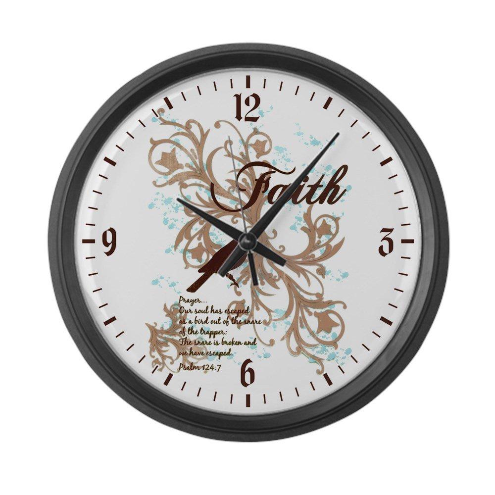 Large Wall Clock Faith Prayer Dove Christian Cross