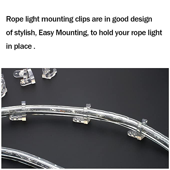 Amazon apoulin led rope light clips holder 100pack 12 amazon apoulin led rope light clips holder 100pack 12 inches clear pvc mounting rope light mounting clips by garden outdoor aloadofball Choice Image