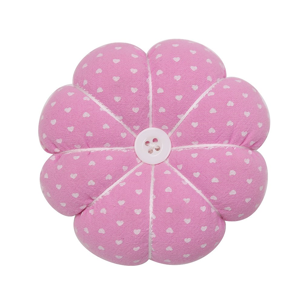 D&D Wrist Pin Cushion Pumpkin Pin Cushions Wearable Needle Pincushions for Sewing Quilting Pins Holder, Pink Flower