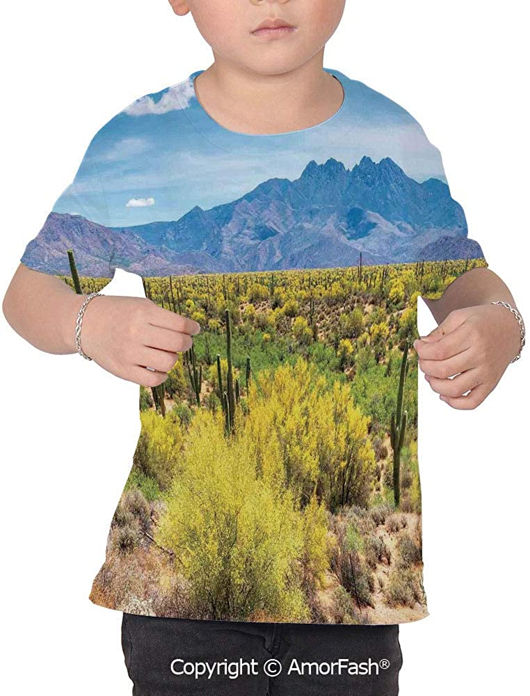 Cactus Decor Childrens Classic Basic Printed Ultra Comfortable T-Shirt,Photo I