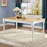 Beautiful Dining Table, White and Natural, Traditional Farmhouse Style,Classic Turned Legs, Made of Solid Wood