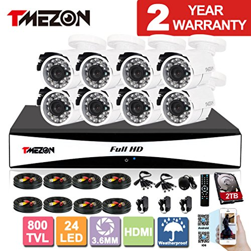 TMEZON 8CH Channel 960H HDMI Output P2P DVR Recorder 800TVL Cameras Outdoor CCTV Surveillance Security System APP Mobile Access 2TB Hard Drive
