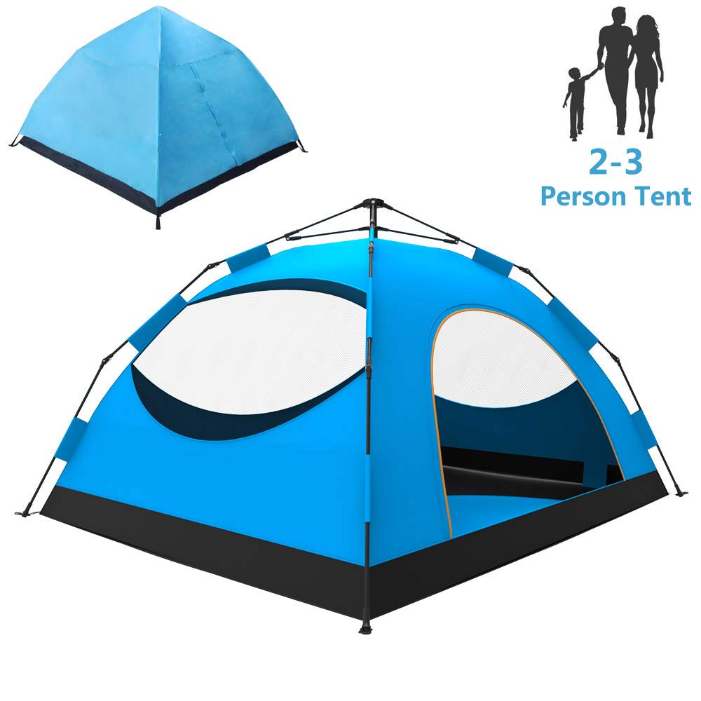 LETHMIK Backpacking Tent, Instant Automatic pop up Tent, 2-3 Person, Waterproof Lightweight Double Layer Camping Tent for Outdoor Hunting, Hiking, Climbing, Travel, Blue