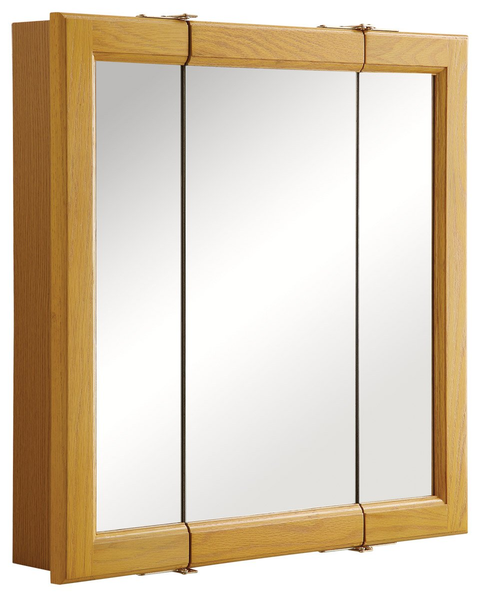 Design House 545277 Claremont Honey Oak Tri-View Medicine Cabinet Mirror with 3-Doors, 24-Inches by 24-Inches