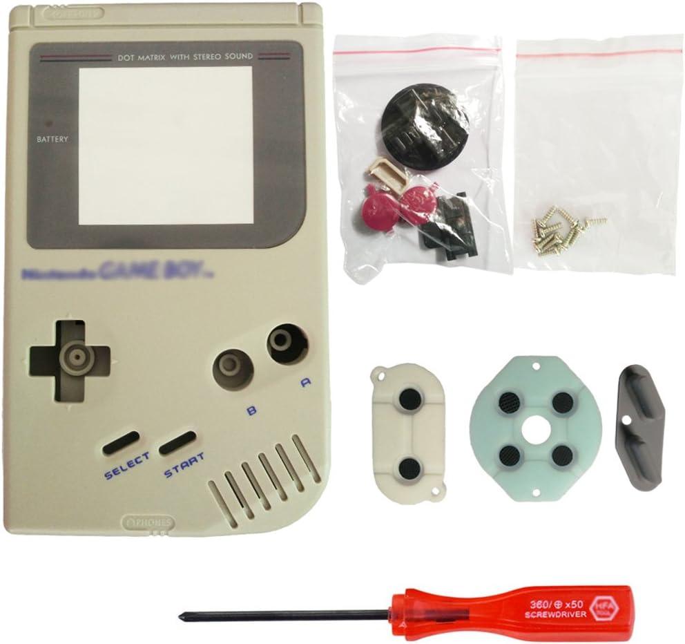 iMinker Full Housing Shell paquete de piezas de repuesto de la cubierta de la caja con herramientas abiertas para Nintendo Gameboy GB consola (Gris)