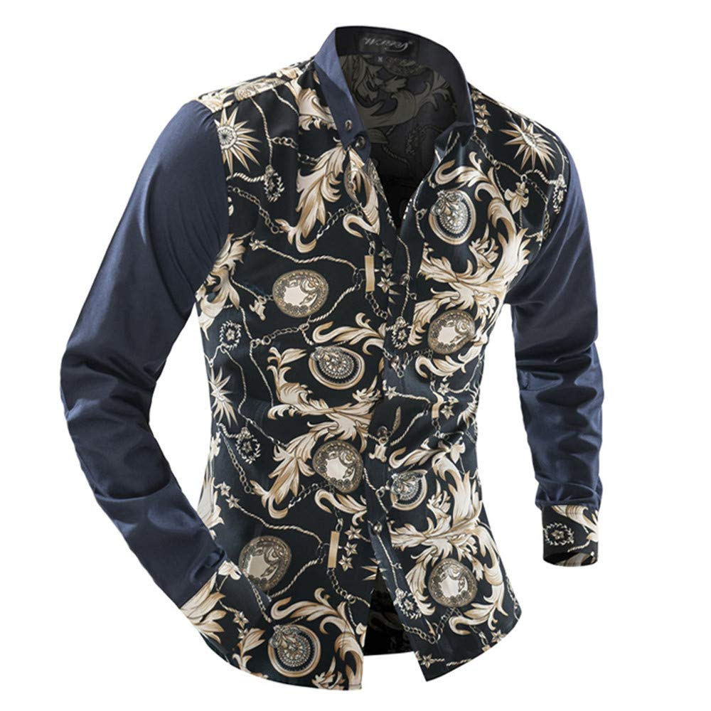 Dempuss Men Casual Slim Long Sleeve Button Stand Collar Shirts Solid Color