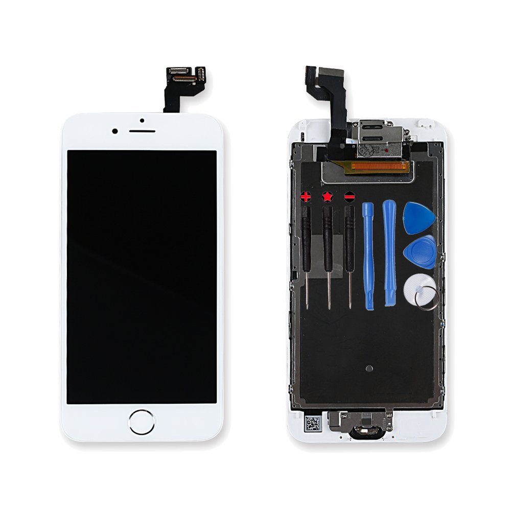 For iPhone 6s Digitizer Screen Replacement White - Ayake 4.7'' Full LCD Display Assembly with Home Button, Front Facing Camera, Earpiece Speaker Pre Assembled and Repair Tool Kits AKUIAW6SH