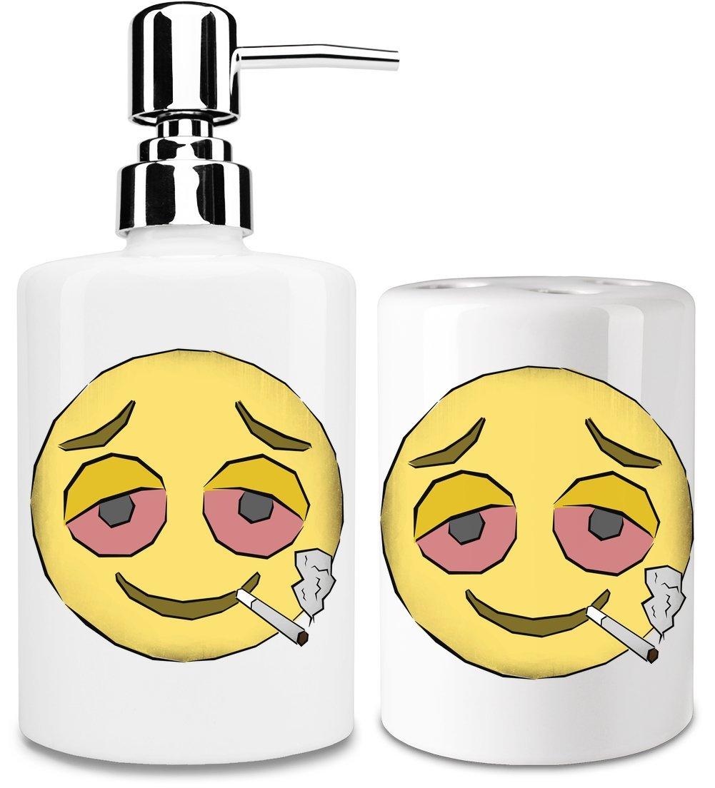 Stoned Emoji Dispensador de jabón y Porta Cepillo de dientes: Amazon.es: Hogar