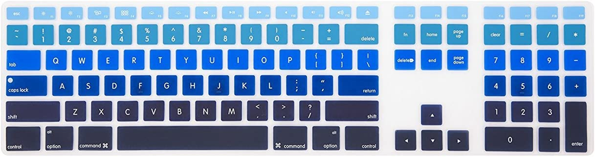 Leze - Ultra Thin Silicone Keyboard Protector Skin Cover for Apple Wired Keyboard with Numeric Keypad US Versions(MB110LL/B) - Ombre Blue