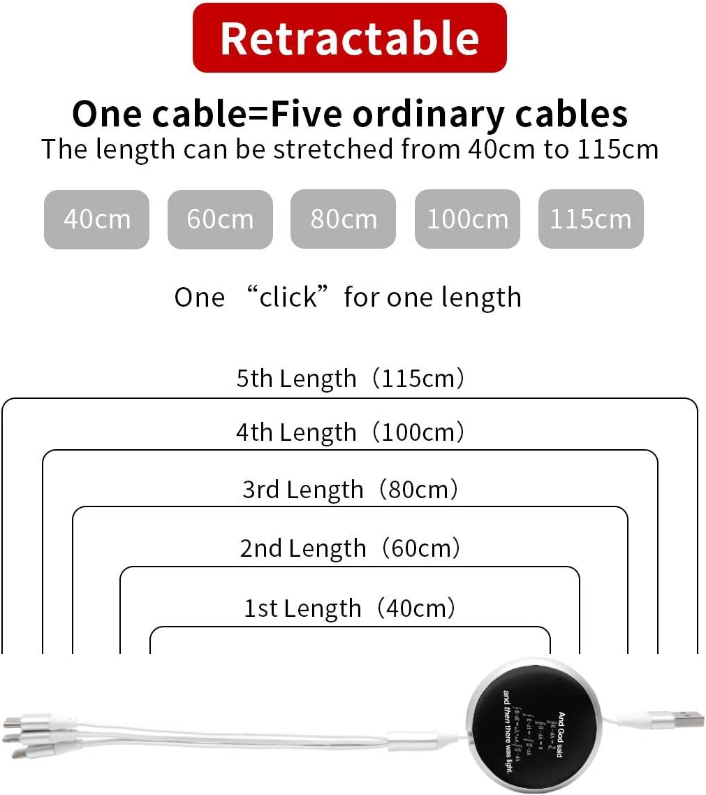 God Said Maxwell Equations and Then There was Light 3 in 1 Multiple USB Stretch Charger Cord with Micro,Type C,iOS Connectors with Cell Phone Tablets More