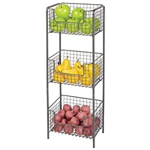 mDesign 3 Tier Vertical Standing Kitchen Pantry Food Shelving Unit - Decorative Metal Storage Organizer Tower Rack with 3 Basket Bins to Hold and Organize Fruit, Potatoes, Snacks - Graphite Gray