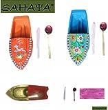 SAHAYA Combo Set of 3 Boats Animal Print/ Flower Print/ Plain Fun Steam Powered Tin Toy Pop Putt Putt Boat Nav Candle Powered Fuel Flame