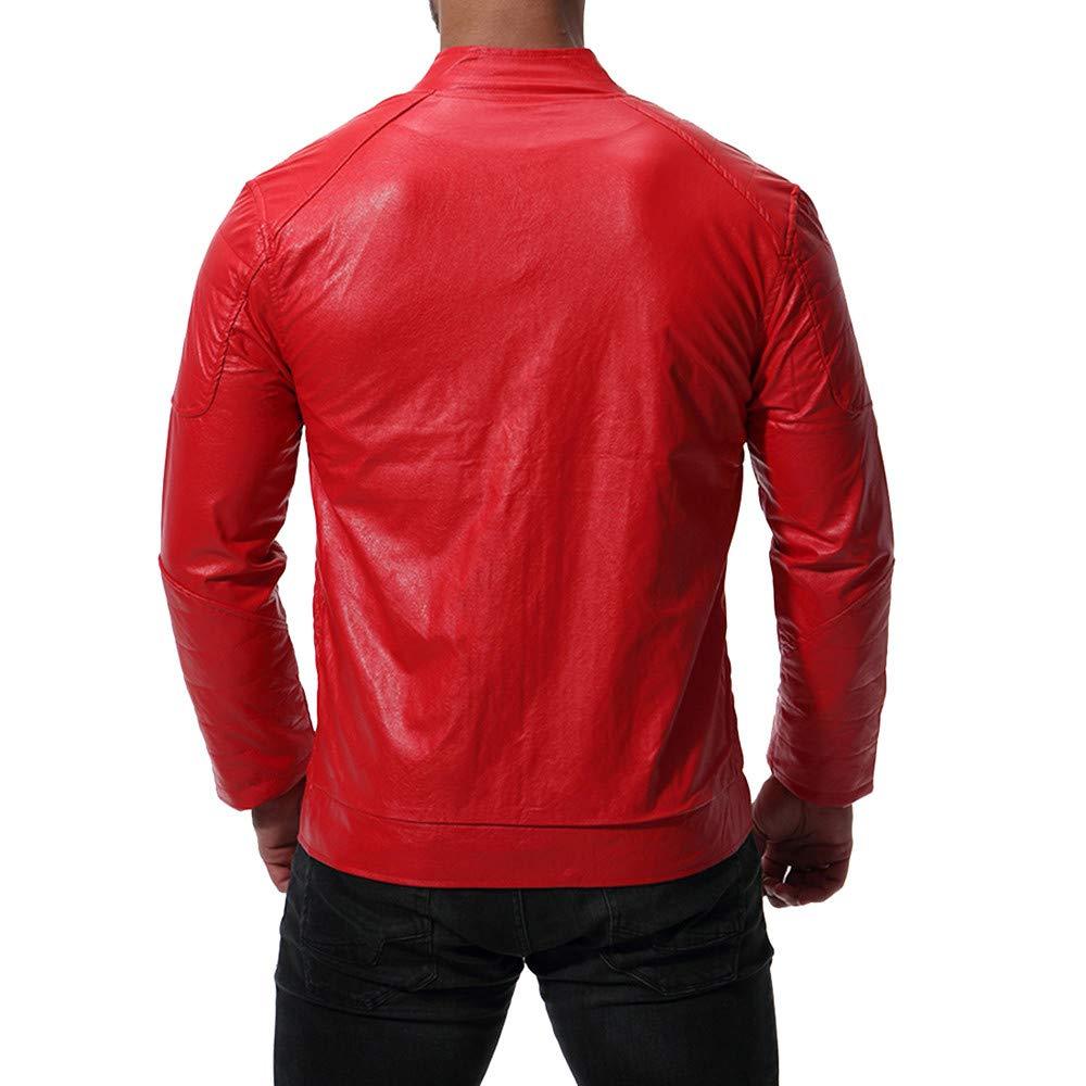 Homebaby Giacca in Pelle Uomo Classico Motociclista Caldo Invernale Cappotto Bomber Giubbini Felpa Casual Tops Spessa Outwear Abbigliamento Sportivo Parka