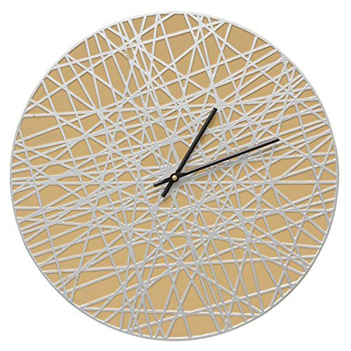 Whitehall 16'' Banded Clock Cur/Silver - 02176 (Cur/Silv) by Whitehall