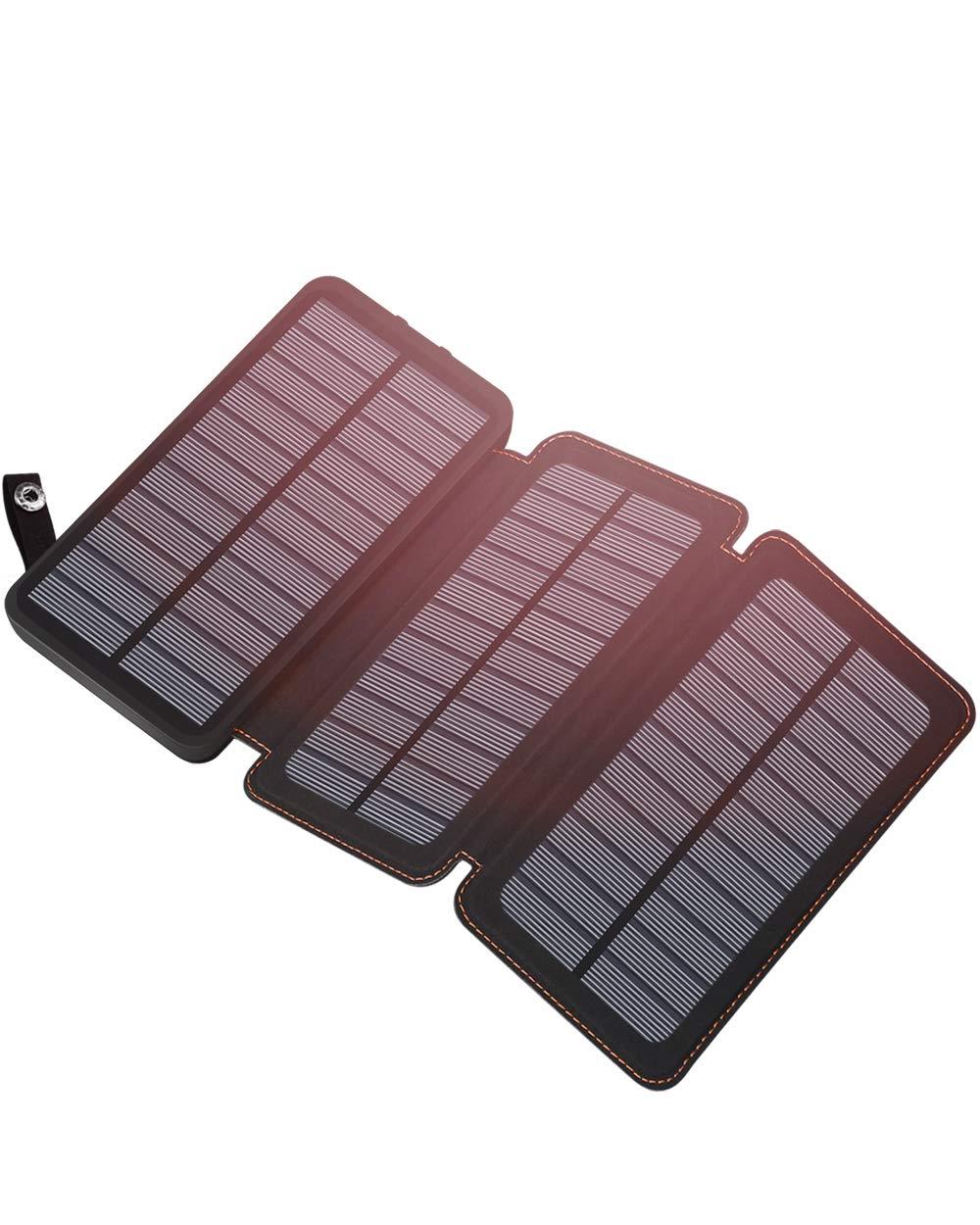 ADDTOP Cargador Solar Portatil 24000mAh, Batería Externa de 2 Puertos...