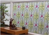 CHOIS Static 537TP Cling Decorative Privacy Red Floral Stain Glass Window Film Stickers 35'' x 1800''
