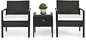 3 Pcs Rattan Coffee Table& Chairs Set W/Cushion &Storage Table Patio Poolside