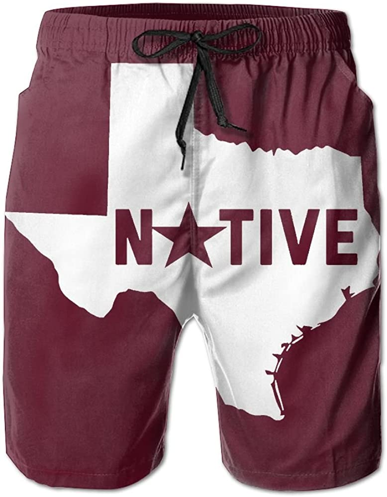 Texas Native for Men Board Shorts Beach Swim Trunks Relaxed-Fit Shorts