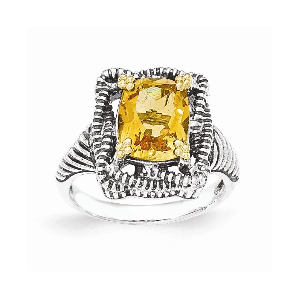 Mia Diamonds 925 Sterling Silver and 14k Yellow Gold Citrine Ring