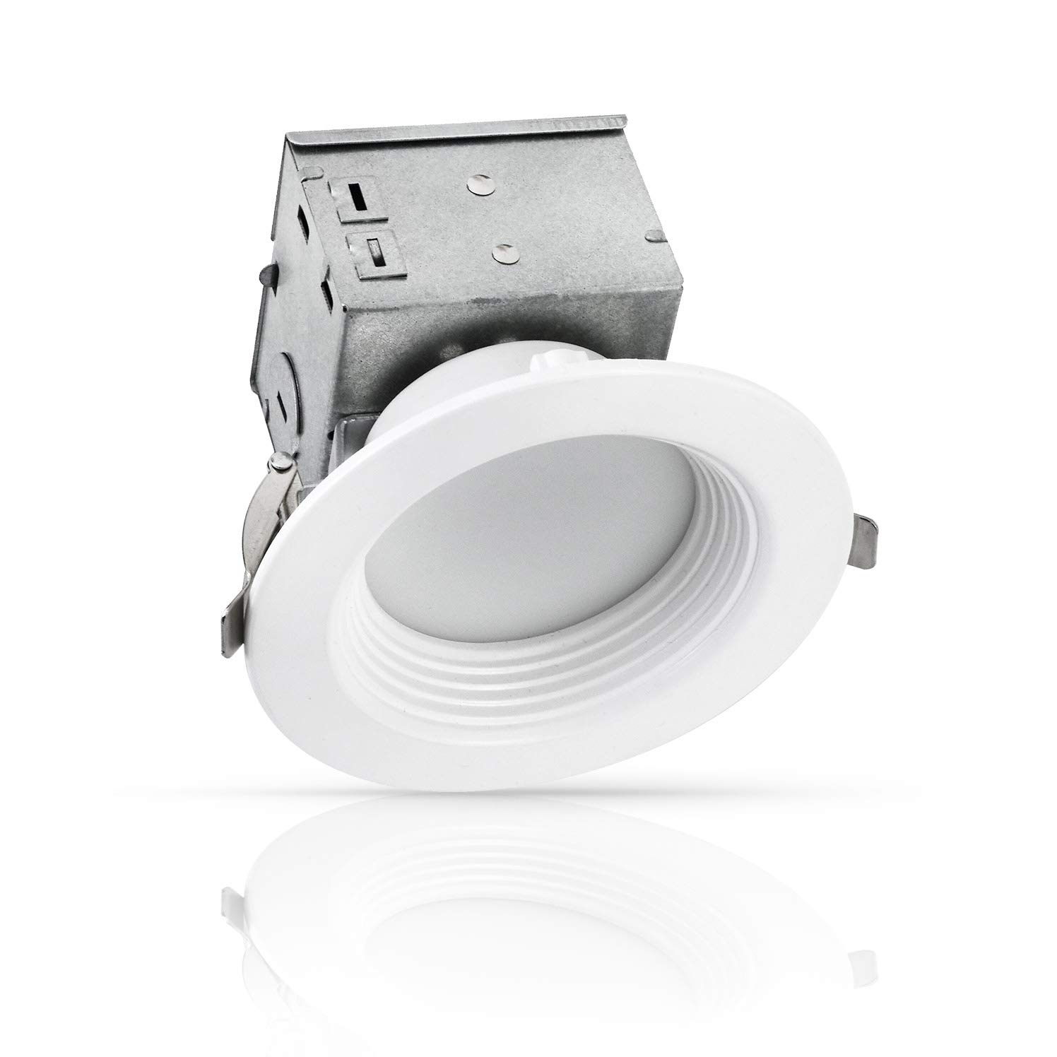 LUXTER 4 inch LED Ceiling Recessed Downlight With Junction Box, LED Canless Downlight, Baffle Trim, Dimmable, IC Rated, 10W(75Watt Repl) 5000K 750Lm Wet Location ETL and Energy Star Listed