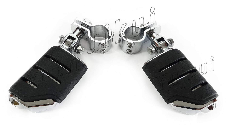 YUIKUI RACING オートバイ汎用 1-1/4インチ(32mm)/1インチ(25.4mm)エンジンガードのパイプ径に対応 ハイウェイフットペグ タンデムペグ ステップ YAMAHA XV 1900 RAIDER From 2008等適用   B07Q2BY5D3
